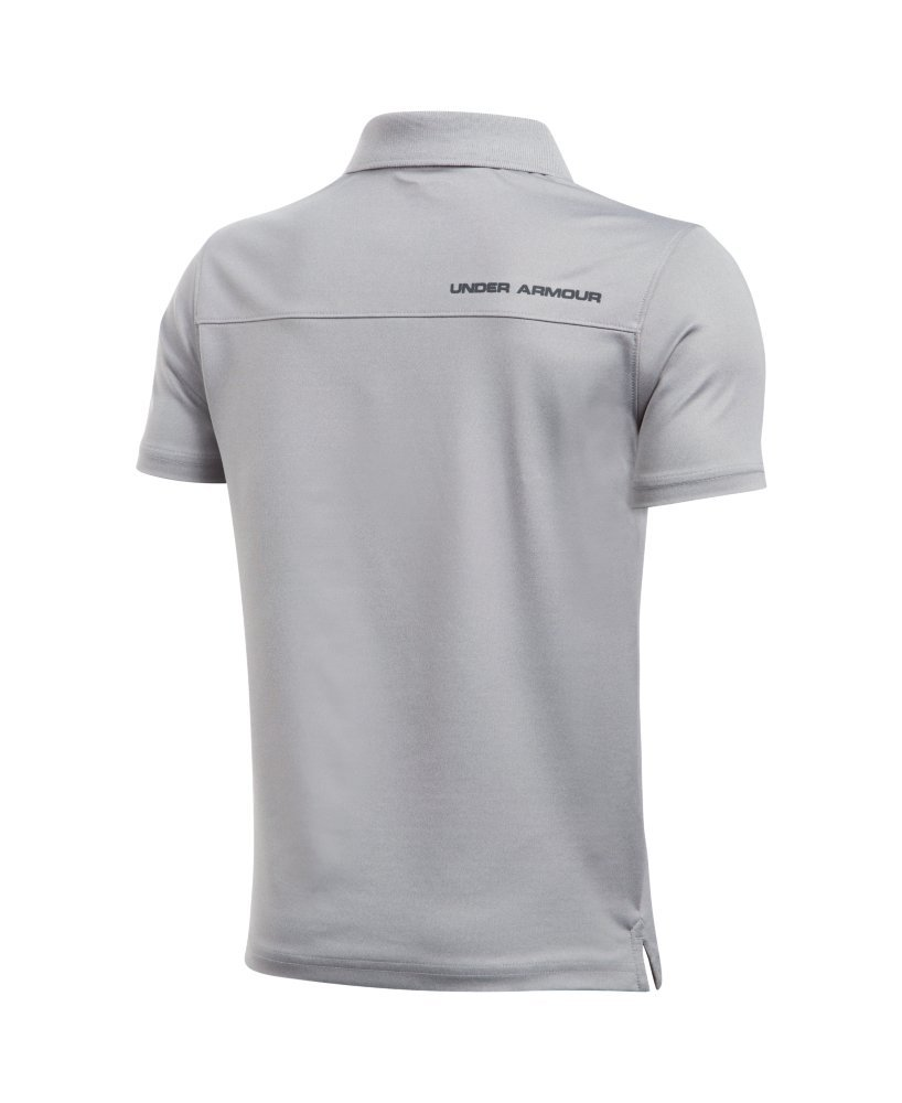 Under Armour Boys' Performance Polo, True Gray Heather /Rhino Gray, Youth X-Small by Under Armour (Image #2)