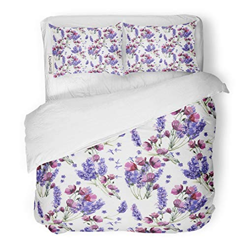 (Tarolo Bedding Duvet Cover Set Wildflower Lavender Flower Pattern in Watercolor Full Name of The Plant Aquarelle Wild for Border 3 Piece Queen 90