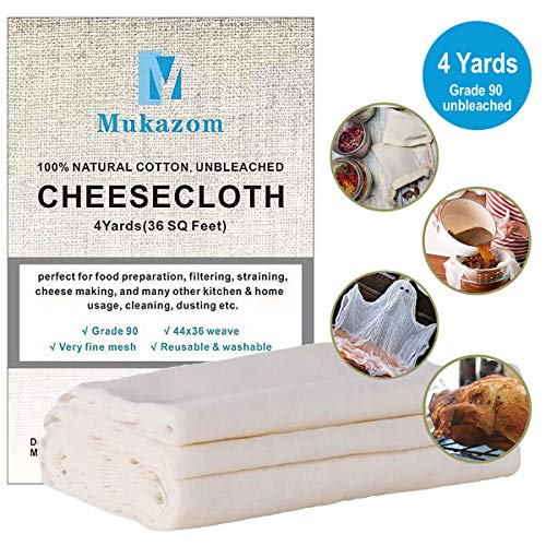 Unbleached Cheesecloth, Grade 90, 36 Sq Feet, 100% Cotton Cheese Cloth, Ultra Fine Organic Reusable Cheesecloth for Straining, Cooking, Strainer, Food Filter by Mukazom (4 Yards) ()