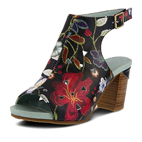 Sandal Spring Style Tapestry Women's Black Multi by Step Leather L'ARTISTE 0nH5CqWI