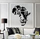 Large Vinyl Decal Tiger Animal Africa Map Kids Room Wall Stickers Decor Mural (ig2711) Matte Black
