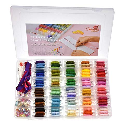 - 374 PCS,100 PREMIUM DMC COLOR EMBROIDERY FLOSS WITH ORGANIZER STORAGE BOX CROSS STITCH KIT WITH TOOLS, FLOSS BOBBINS, BEADS AND RIBBONS FRIENDSHIP BRACELET STRING KITS EMBROIDERY THREAD BRACELETS YARN