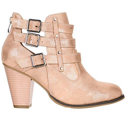Forever Womens Buckle Strap Block Heel Ankle Booties Rose Gold Metallic2 X3Oeo1GuK