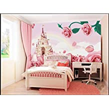 Sproud Custom Papel De Parede Infantil, Pink Roses And Castle Wall Murals For Children Room Sofa, The Bedroom Fabric Papel De Parede 300Cmx210Cm