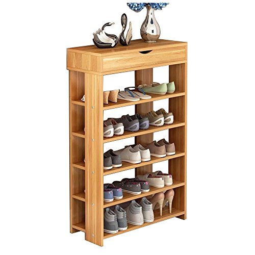 Dland Shoe Racks 5-Tier & 1-Cabinet Multi-function Economy Storage Rack Wood Shelf Organizer, Teak (5 Shelf Shoe Cabinet)