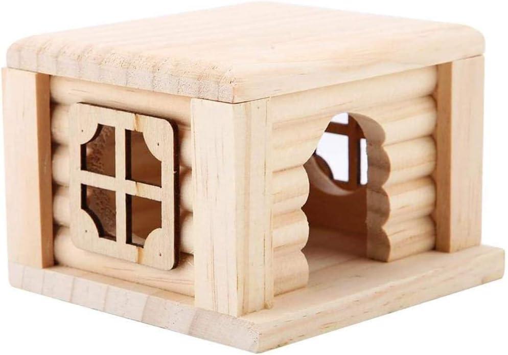 Casa de hámster, hámster de Madera Natural de Cabina de hámster Jaula Pequeño Animal House con Ventana para Animales pequeños,Beige