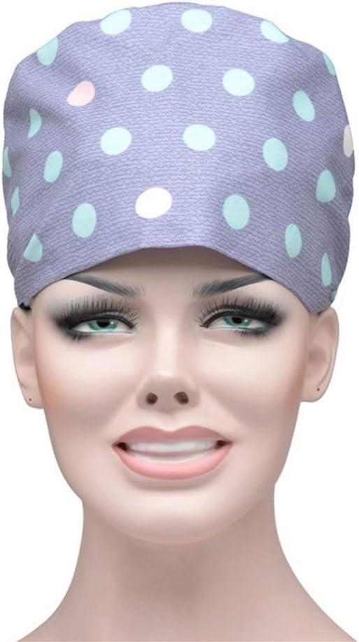 TENDYCOCO Gorro quirúrgico de Lunares Estampado Sombrero de Tiras Gorro de Enfermera médico Gorro de Trabajo para Mujeres Hombres