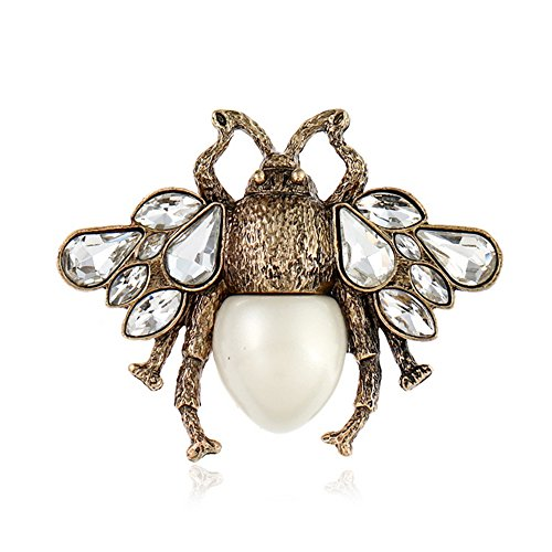 NOUMANDA Antique Gold Plated Crystal Pearl Bee Brooch Pin Retro Cute Bumblebee Pins Animal Insect Brooches Jewelry (bee 2)