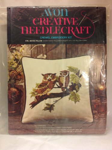 Avon Owl (Vintage 1973 Avon Creative Needlecraft Owl Mates Pillow Crewel Embroidery Kit 14