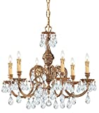 Crystorama 2906-OB-CL-SAQ Novella 6LT Chandelier, Olde Brass Finish with Clear Swarovski Spectra Crystal