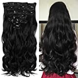 "Neverland Beauty 22""7 Pcs 16 Clips Clip in Full Head Wavy Curly Hair Extensions Natural Black"