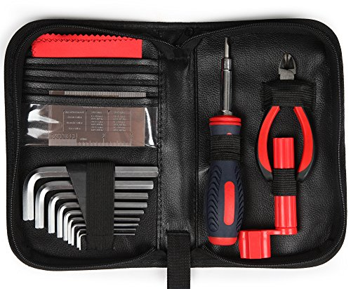 Kenley Pro Guitar Care Tool Kit - String Winder, String Cutter, Truss Rod Wrench Set, Action Measuring Ruler, Bridge Pins Puller - Musician Setup Starter Tools Accessories for Acoustic Electric & Bass by Kenley