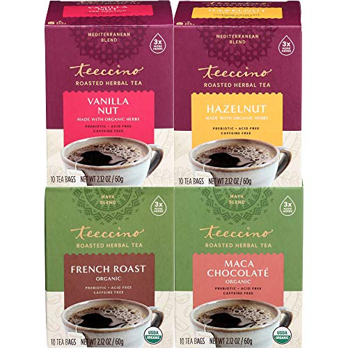Teeccino Herbal Tea Variety Pack – Vanilla Nut, Hazelnut, Maca Chocolaté, French Roast – Roasted Herbal Tea That's…