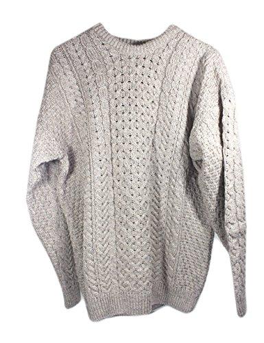 Irish Fisherman Sweater 100% Merino Wool Natural, Small