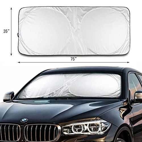 2win2buy Car Windshield Sunshade Jumbo 74 x 35 Inch for Car Vehicles Truck SUV Minivan - UV Rays Protector Shields auto & Keeps Vehicle Cooler Easy to Use Pop up Front Winddow Sun Shade Large