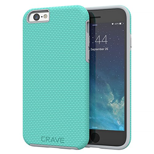 (iPhone 6 Case, iPhone 6S Case, Crave Dual Guard Protection Series Case for iPhone 6 6s (4.7 Inch) - Mint/Gray)