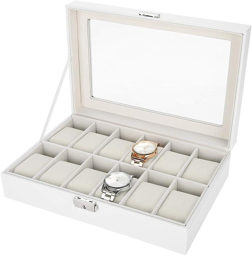 Salmue Caja de Relojes Hombre Mujer con 12 Compartimientos, Tapa de Vidrio, Cierre de Metal, Estuche de Almacenamiento para Reloj