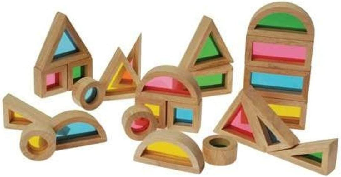 Constructive Playthings 24-Piece Color Mixing Blocks for Building and Light Play Tables, Multicolored