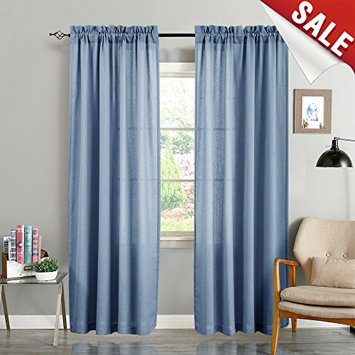 Semi Sheer Window Curtains for Living Room 95 inches Long Linen Textured Blue Floor Length Casual Weave Curtain Panels for Bedroom One Pair, Blue
