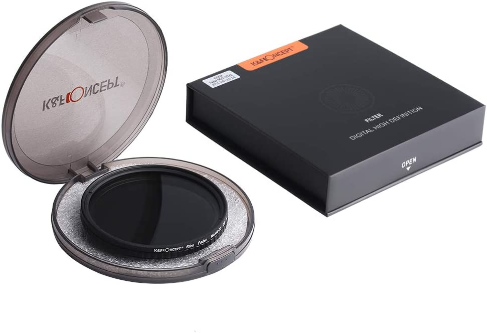 K/&F Concept 77mm ND8 to ND128 Variable Neutral Density Filter Slim Fader ND Filter 77mm 3-Stop to 7-Stop for Camera Lens NO X Spot,Nanotec,Ultra-Slim,Weather-Sealed
