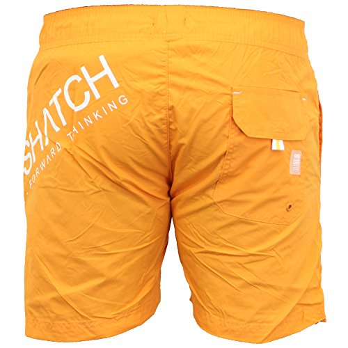 Hommes Doublure Maille Surf Natation Short Crosshatch - Orange - MAKINS, Small