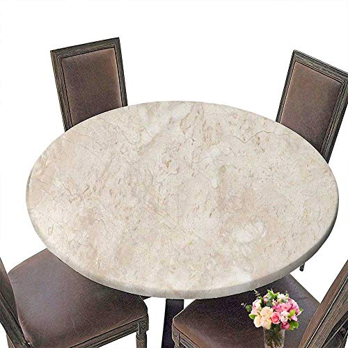 (PINAFORE Luxury Round Table Cloth for Home use Stone Italian Marble Warm Cream for Buffet Table, Holiday Dinner 55