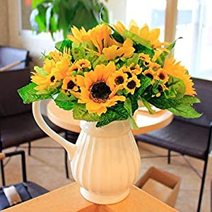 Shineweb 7 Scape Fake Sunflower Artificial Silk Flower Bouquet Home Wedding Floral Decor Pack of 3 3