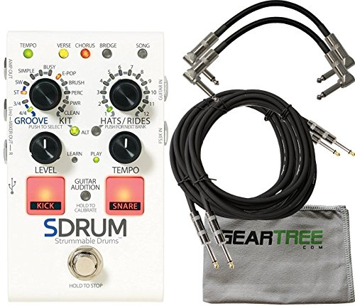 Digitech SDRUM Strummable Drums Automatic Drummer Pedal w/ Cloth and 4 Cables by DigiTech