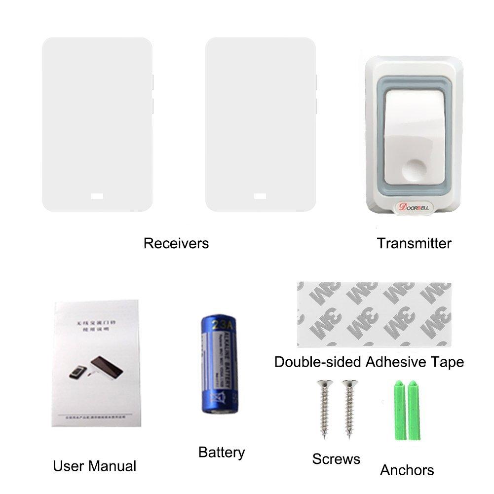 Sonnette 4 niveaux de volume et LED Dispaly Blanc iAmotus Sonnerie sans fil Prise portable Radio /étanche Radio Bell Kit 2 r/écepteur 1 Transmetteur avec gamme 300m