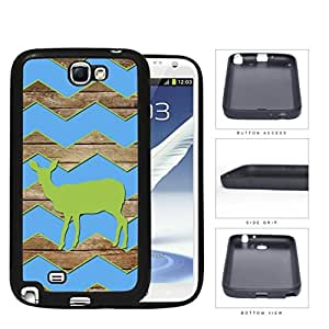 Green Color Deer on Blue Chevron and Brown Wood Pattern Samsung Galaxy Note II 2 N7100 Rubber Silicone TPU Cell Phone Case