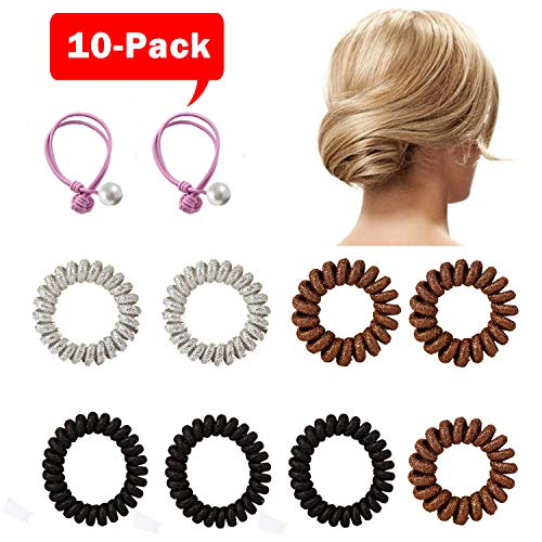 Spiral Hair Ties,No Crease Ponytail Holder, Coil Hair Ties, Phone Cord Hair Ties, Hair Coils,Hair rope-Pearl hair rope - 10pcs ()