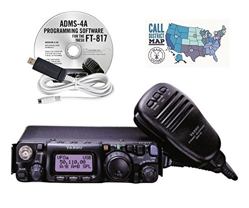Yaesu FT-817ND All Band Ultra Compact Portable Amateur Transceiver, RT Systems Programming Software with Cable, and Ham Guides TM Quick Reference Card Bundle