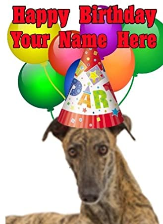 Greyhound Dog Party Hat Card Codegre Birthday A5 Personalised Greeting Amazoncouk Office Products