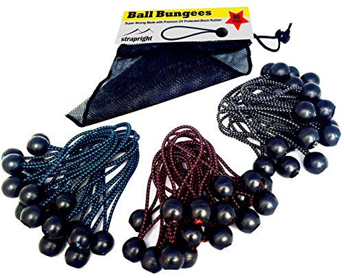 Premium Ball Bungee Cords, Quality 60 Pack of 3 Sizes Tarp & Canopy Shock Cords. Black UV Treated Cord with Color Fleck to Indicate Size. New Zealand Made giving You the Best New Ball (Ring Setting 2 Loop)