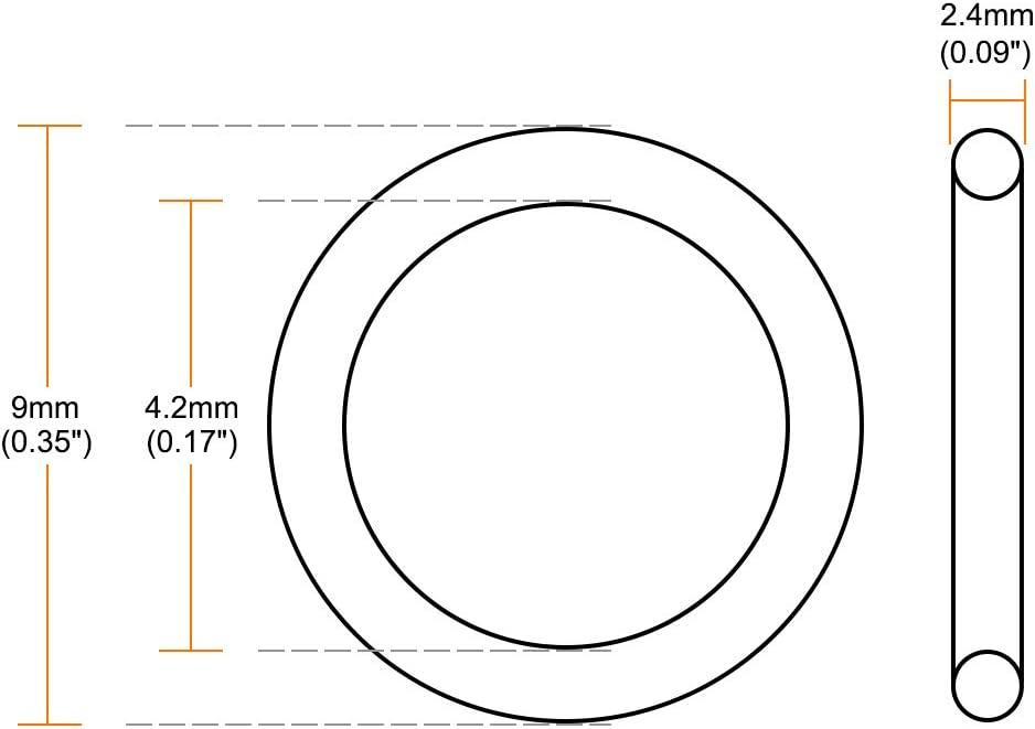 Fluorkautschuk O-Ringe 2.2-17.2mm Innendurchm sourcing map 5 Stk 2,4mm breit Dichtung gr/ün 14,2 mm x 19 mm x 2,4 mm