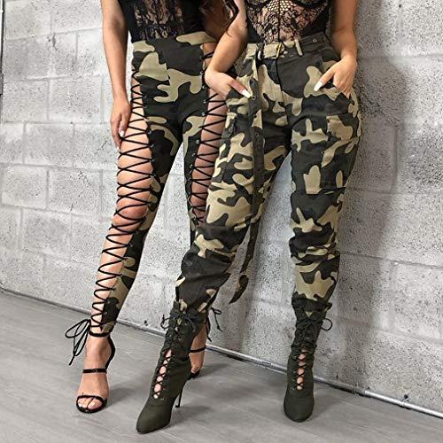 Etroits XL Ceinture Pantalon Pantalons Verte avec Crayon Pieds Longs Arme Leggings de Moyenne La Taille Femme Plus Slim Mxssi S lgant Taille Camouflage Pantalon Mode Casual FOqnxEPg