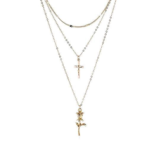Fengteng Mehrschicht Kette Damen Kreuz Rose Blume Anhänger Gold ...