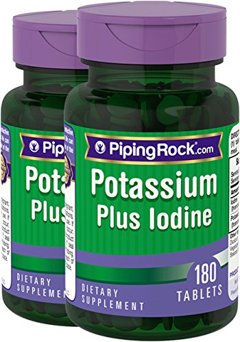 Piping Rock Potassium Plus Iodine 2 Bottles x 180 Tablets Dietary Supplement