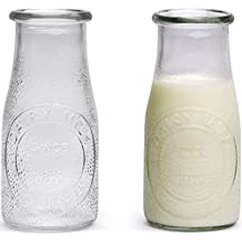 Circleware Hammered Glass Milk Bottles/Drinking Glasses, 16 Ounce, Set of 6