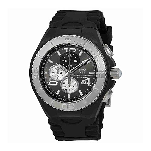 Technomarine Sport Wrist Watch - Technomarine Men's 'Cruise' Quartz Stainless Steel and Silicone Casual Watch, Color:Black (Model: TM-115148)