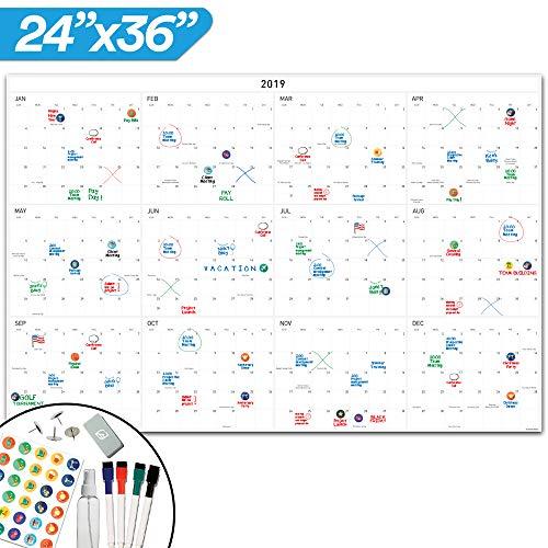 2019 Dry Erase Wall Calendar - Yearly Dry Erase Calendar - 24