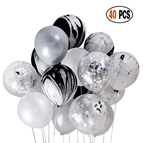 DIvine 40 Pcs Black Silver White Balloons Set, Silver Confetti and Black Agate Marble, Silver and White Latex Balloons for Wedding Baby Showers Festival Ceremony Birthday Party Decoration Backdrop