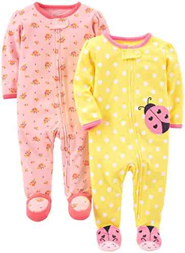 Simple Joys by Carter's Girls' 2-Pack Cotton Footed Sleep Play