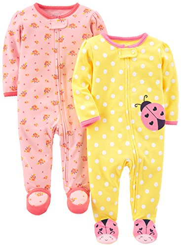 Simple Joys by Carter's Girls' 2-Pack Cotton Footed Sleep and Play, Pink Floral/Ladybug, 3-6 Months