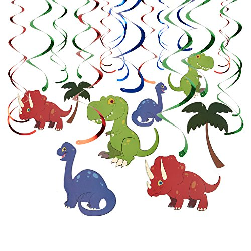 30-Count Swirl Decorations - Dinosaur Birthday Party Decorations, Party Streamers, Hanging Dino DecorWhirls for Kids, 4 Assorted Designs - Hanging Length: 34.25 to 36.25 inches by Blue Panda