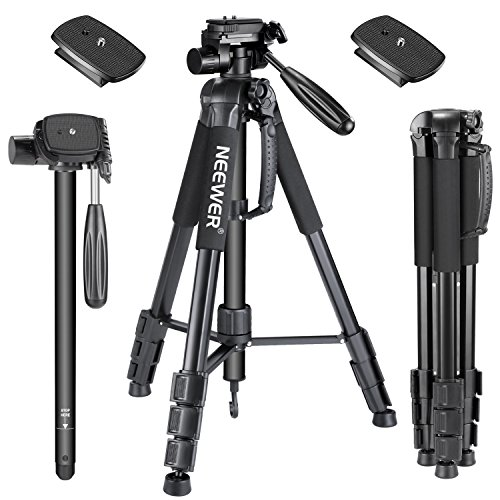 (Neewer 70inches/177centimeters Aluminium Camera Tripod Monopod with 3-Way Swivel Pan Head,2-Pack Quick Shoe Plate,Bag for DSLR Camera,DV Video Camcorder,Load up to 8.8 pounds/4 kilograms Black(SAB264))