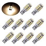 PESIC 10x T10 921 192 Wedge RV Trailer 42-SMD LED Warm White Interior Light Bulbs