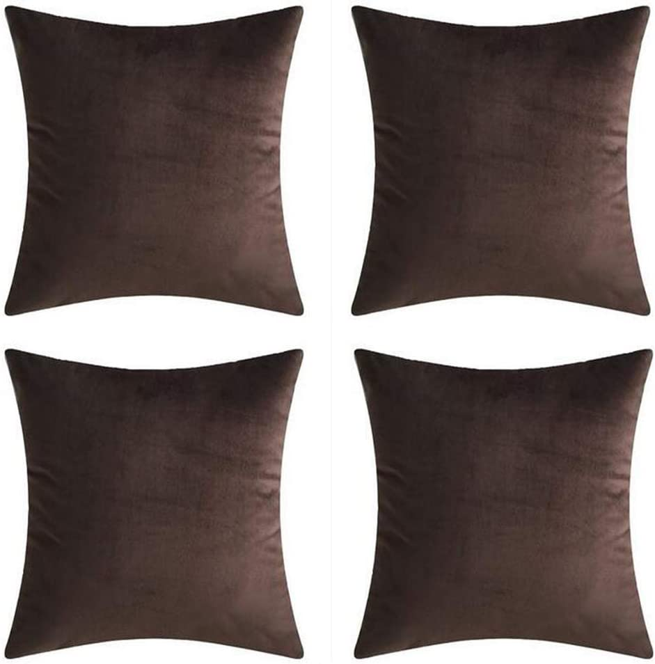 Andreannie Set of 4 Velvet Super Soft Comfortable Solid Decorative Throw Pillow Cover Cushion Case for Sofa Living Room 18 inches Square (Brown, 18