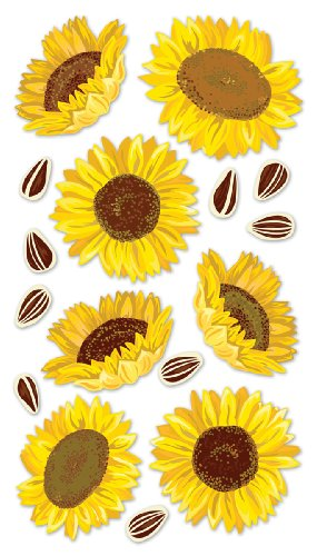 Sticko Vellum Stickers, - Dimensional Stickers Sunflowers