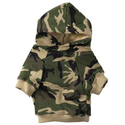 Casual Canine Cotton Camo Dog Hoodie, Small, Green, My Pet Supplies